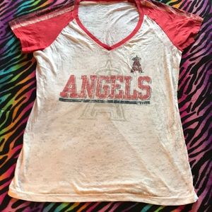 Tops - 😇 Angels distressed white shirt ⚾️